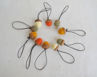 10 wool acorns on threads rustic decor fall hostess gift needle felted ornaments Thanksgiving and Christmas Natural decor
