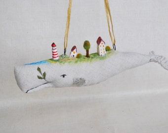Stuffed White Whale Hanging Decoration or Wall Decor lighthouse and tiny village baby shower Nursery decor