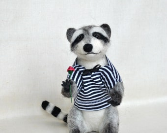 Needle Felted Raccoon OOAK doll miniatures Collectible woodland animal soft sculpture Wool Art