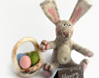 Easter bunny with Easter basket Needle Felted Soft Sculpture OOAK miniature bunny