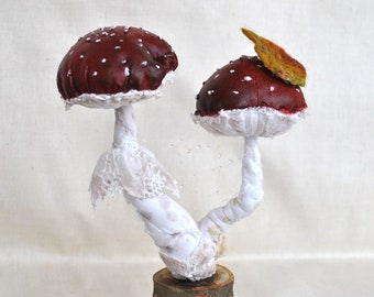 Mushrooms textile toadstool on a stump, Fly Agaric fungus forest natural soft sculpture, amanita mushrooms home decor woodland OOAK