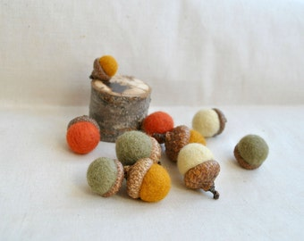 Wool acorns Thanksgiving decor felted set of 10 acorns real caps rustic natural fall decor colors felt hanging acorn ornament