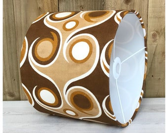 Funky 60s 70s Vintage Psychedelic Brown Fabric Lampshade