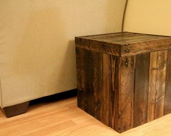 Delicieux Reclaimed Pallet Wood Furniture   Storage Cubed Ottoman   Stained