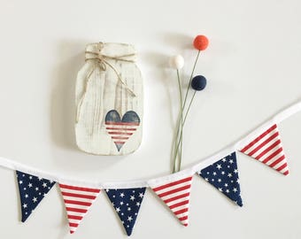Mini Red, White and Blue Fabric Banner. Patriotic Banner. Stars and Stripes Fabric Banner.Mini Patriotic Bunting. Stars and Stripes bunting.