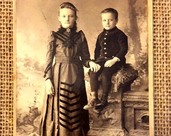 Charming Vintage Cabinet Card of Two Children in Period Clothing from Watertown, NY Photo Studio