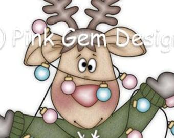 Digi Stamp Christmas Lights. Reindeer. Christmas