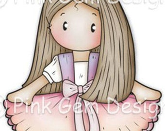Digi Stamp Ballerina Chloe. Birthday Card Making Scrapbooking