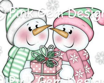 Digital (Digi) 'Snow Friends' Stamp.Snowmen Couple.Makes Cute Christmas Cards