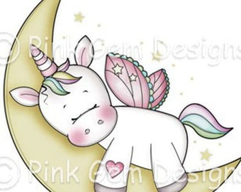 Digi Stamp  'Sleeping Unicorn' - Birthday, Party Invitations, Valentine