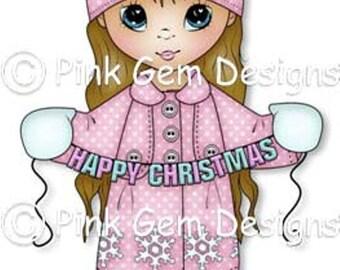 Digital Stamp Christmas Grace. Cute Girl. Christmas Cards. Card Making. Paper Craft. Digital Scrapbooking. Invitations. Digi Stamp