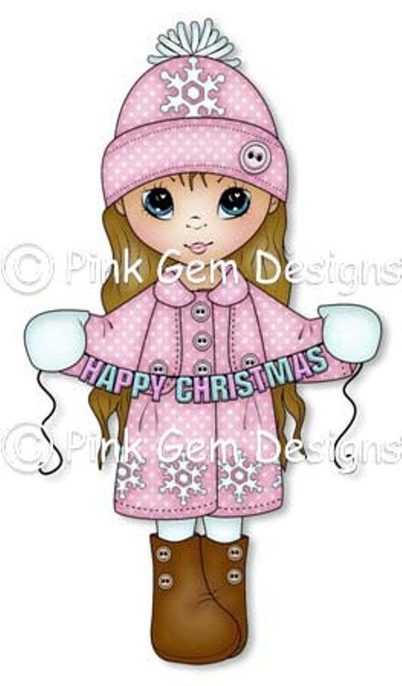 digital stamp christmas grace cute girl christmas cards etsy