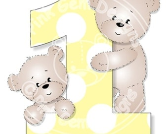 Digital (Digi) Teddy's First Birthday Digi Stamp