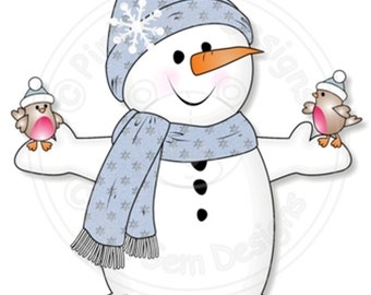 Digital (Digi) 'Chilly with Robins' Stamp.Snowman.Makes Cute Christmas Cards