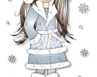 Digital (Digi) Winter Emma - Stamp. Girl. Makes Cute Christmas Cards