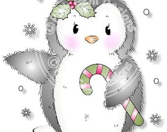 Digital (Digi) Cute Penguin Stamp. Makes Cute Christmas Cards.