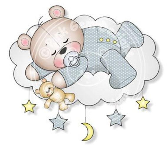 Digital Digi bebé niño durmiendo sello de peluche | Etsy