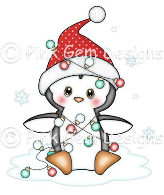 Digi Stamp Penguin With Christmas Lights Makes Cute Christmas Cards Scrap Booking Clipart