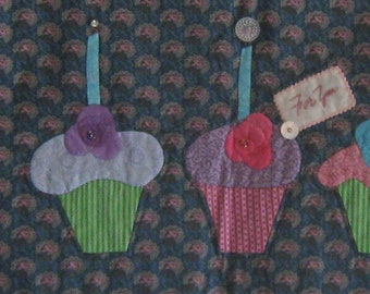 Quilt, Birthday, Banner, Cupcakes and Candles, Appliqued, Buttons, Sequins, Beads, Handmade, Quilted Wall Hanging,