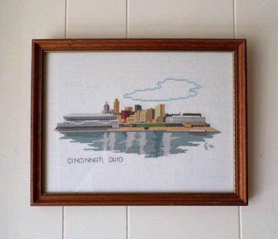 Cincinnati Skyline Cross Stitch Professionally Framed Etsy