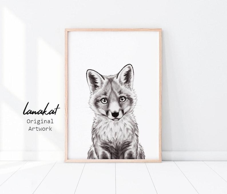 Fox Print. Baby Fox Black & White Watercolor Printable.   Etsy