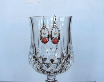 925 Sterling Silver Coral Pearl  Dangle Earrings