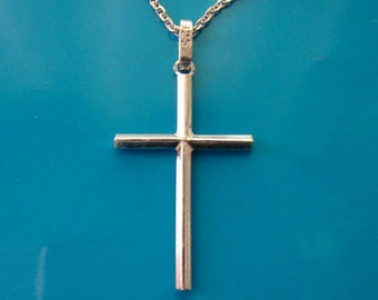 Sterling Silver Plain Thin Cross Pendant