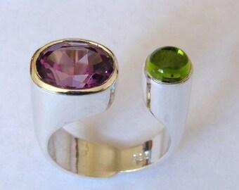 925 Sterling Silver Amethyst Peridot Ring