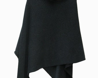 Dark Charcoal Grey 100% Cashmere Poncho