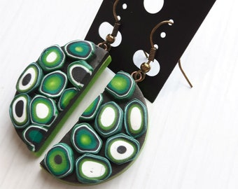 Cell Pie - earrings, handmade jewelry from polymerclay