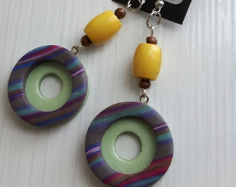 Retro Chic - earrings, handmade from polymer clay
