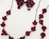 Bridal Couture Statement Swarovski Deep Red, Ruby Back Drop Bridal Necklace, Red Wedding Necklace Set, Long Back Drop Necklace