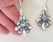 Light Sapphire Blue Statement Earrings-Fan Shape Crystal earrings,Sky Blue Chandelier, Blue Princess Cut Crystals, Swarovski Bridal Earrings