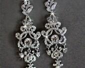 Bridal Earrings Crystal Swarovski Cubic Zirconia Wedding Jewelry Leaves Petals Drop Earrings Pear Drop Crystal