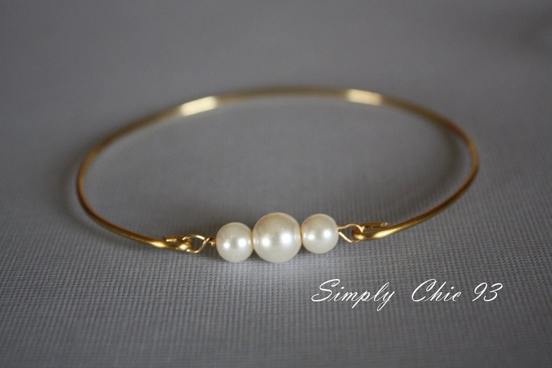 Three Pearl Bracelet Bangle Past Present Future Jewelry image 0