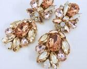 Bridal Couture Statement Earrings-Blush Rose, Swarovski Crystal Chandelier Blush Pink Earrings, White Opal Drop Earrings, Long Earrings