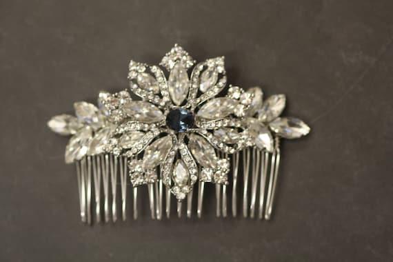 Cristales Swarovski Element Navidad Azul Zafiro Broche Pin Copo De Nieve De Plata Tono