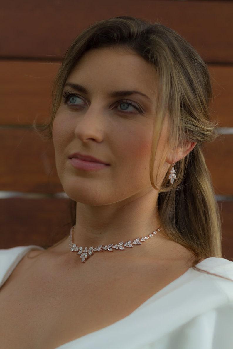 Elegant Evening Ball Cubic Zircon Necklace Earrings SetWedding Two Peice Crystal SetLeaf Petals Floral Bridal NecklaceSilver Crystal set