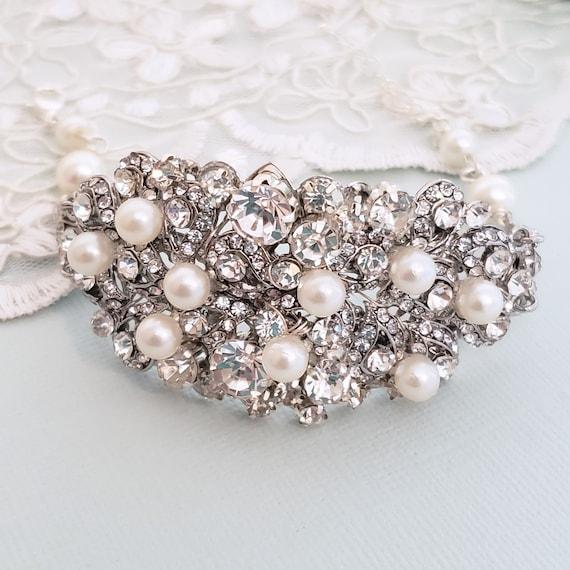crystal pearl bridal cuff wedding cuff, Bridal pearl crystal cuff bracelet