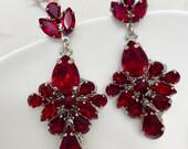 Bridal Couture Statement Earrings-Deep Red, Ruby Chandelier Earrings, Earrings, Garnet Red Swarovski Cluster Earrings, Bridal Ruby Earrings