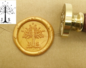 Initials Wax Seal Stamp Lord Of The Rings White Tree Gondor Wedding Seals Invitation Custom C003