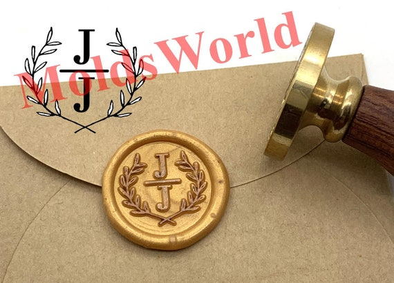 Custom Initials Wax Seal Stamp with Olive Leaves Wedding Seal Stamp Personalized Invitation seal stamp L03