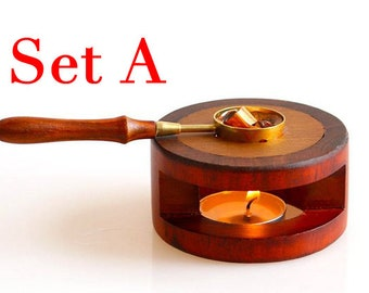Wax Seal Warmer Sealing Wax Wooden Melting Furnace Tool Stove Tool with Wooden Handle Brass Wax Spoon S134