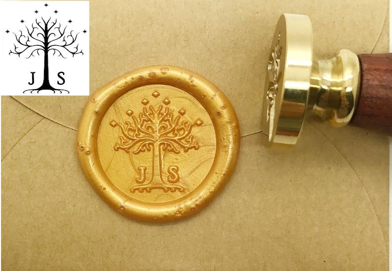 Custom Initials Wax Seal Stamp Tree Seals Wedding Invitation Etsy