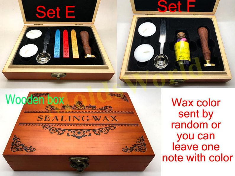 Coffee Cup Wax Seal Stamp Kit Wedding Invitation Sealing Wax Stamp Kits Custom Wax Seal Paper Wooden Gift Box Package S1596
