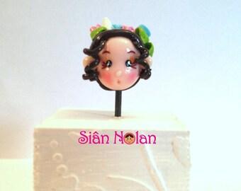 Polymer Clay 'Leilani' doll head bead