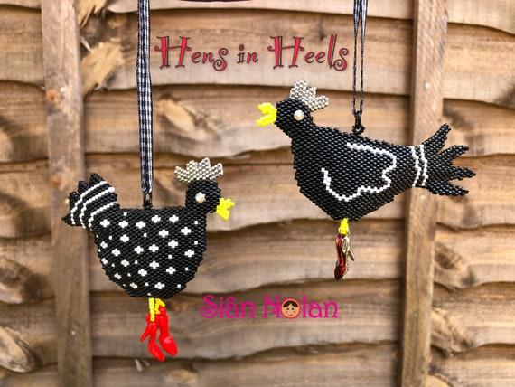 Hens In Heels 3d Brick Stitch Peyote Stitch Hanging Ornament Etsy