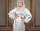 Bridal Silk Full Length Robe, Inspired by Bettie Page, Pin Up Girl, Full Length Dress, Dressing gown, Luxury Women's Robe, Ivory Silk Robe