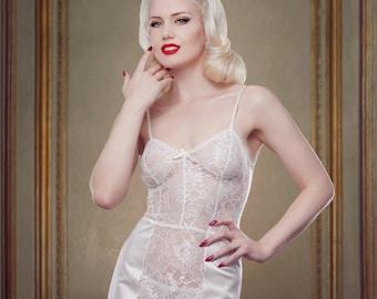 Hochzeit Kleid Slip, Elfenbein-Spitze und Seide Satin Dessous Slip Petticoat, inspiriert von Marilyn Monroe, Pin-Up-Mädchen, Retro, Vintage-Stil.