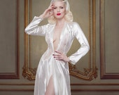 Bridal Robe, Ivory Silk Dressing Gown, Inspired by Marilyn Monroe, Ivory Silk Satin and Lace, Pin-up Girl, Retro, Vintage Style Wedding Robe